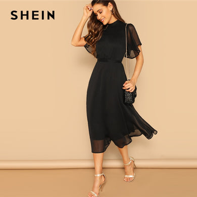 SHEIN Glamorous Black Mock-neck Knot Back Sheer Panel Dress