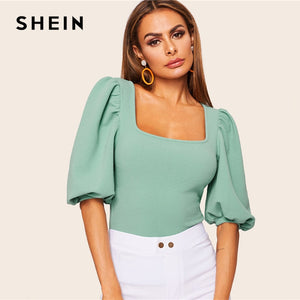 SHEIN Turquoise Puff Sleeve Solid Fitted Square Neck Tee T Shirt