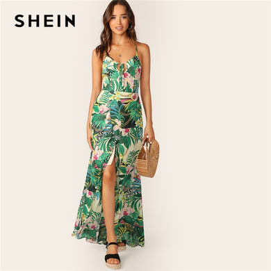 SHEIN Boho Multicolor Lace Up Backless Knot Front Split Tropical Summer Cami Dress