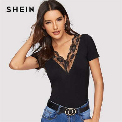 SHEIN Sexy Black Double V Neck and Back Scallop Lace Trim Form Fitting T Shirt