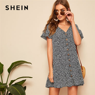 SHEIN Lady Boho Ruffle Hem Drop Waist Button Up Floral Dress