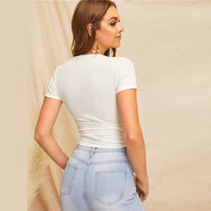 SHEIN Sexy White Deep V Neck Crop Wrap Belted Slim Fitted Top Solid T Shirt