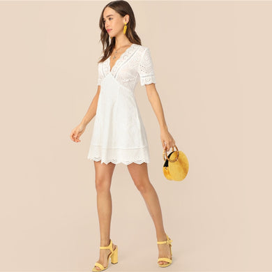 SHEIN Boho White Plunging Neck Scallop Edge Schiffy Summer Lace Dress