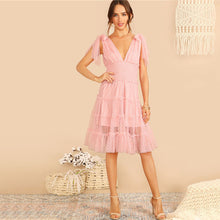 Load image into Gallery viewer, SHEIN Shoulder Knot Plunging Neck Mesh Lace Dress