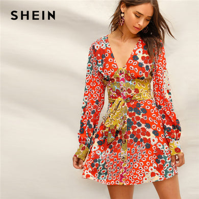 SHEIN Boho Multicolor V Neck Button Front Floral Belted Fit and Flare Dress