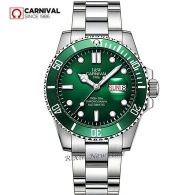 2019New mens watches top brand luxury Carnival automatic mechanical wrist watches full steel fashion military sport clocks reloj
