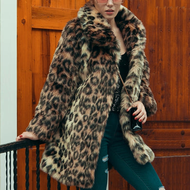 Chic Womens Leopard Faux Fur Coat Winter Thicken Warm Long Sleeve Slim Fur Coat Outerwear Elegant Trench Overcoats T0680