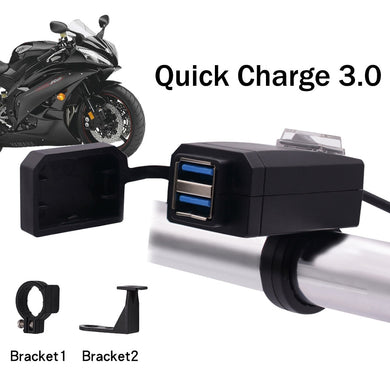 Universal QC3.0  USB Motorcycle Charger Moto equipment Dual USB Quick Change 12V Power Supply Adapter for iphone Samsung Huawei