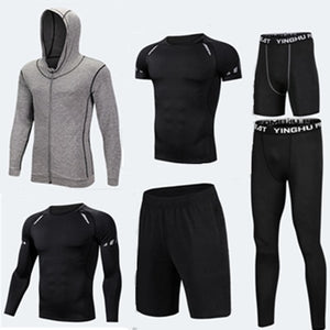 Running Training Clothes Men 7PCS/SETS Compression Running Sets Basketball Jogging Tights Underwear Set Gym Fitness Sports Suits