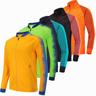 2019 Running Jacket Men Breathable Coat Outdoor Sports Hiking Soccer Training Jersey Jacket Training Gym Football Zipper Jackets