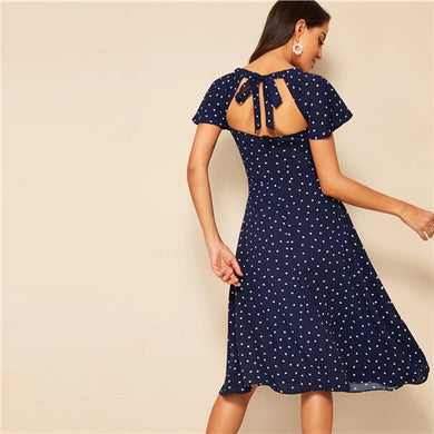 SHEIN Heart Print Flutter Sleeve Tie Cutout Back Dress