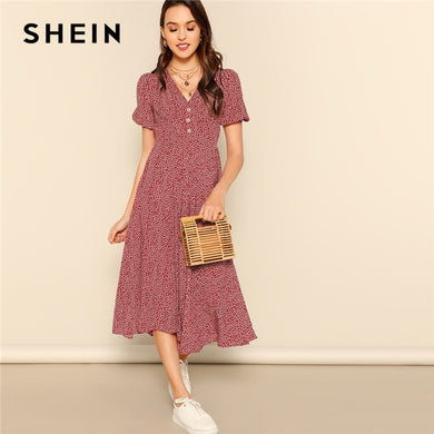 SHEIN Button Front Allover Print V-Neck Dress