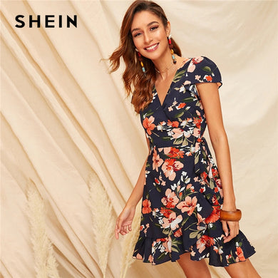 SHEIN Boho Multicolor Floral Print Ruffle Hem Self Tie Wrap Summer Dress