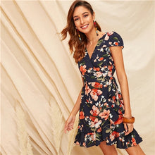 Load image into Gallery viewer, SHEIN Boho Multicolor Floral Print Ruffle Hem Self Tie Wrap Summer Dress