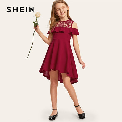 SHEIN Kiddie Guipure Lace Cold Shoulder Ruffle Hem Girls Party Dress 2019 Summer Cap Sleeve Cute A Line Flared Dresses For Kids