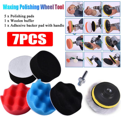 7pcs 8CM Polishing Buffing Pad Kit for Auto Car Polishing Wheel Kit Buffer With Drill Adapter Car Removes Scratches