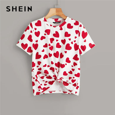 SHEIN Casual Multicolor Allover Heart Print Tee Summer T Shirt