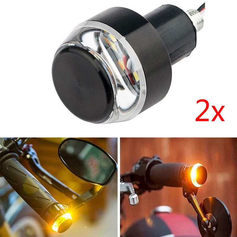 2 Pcs LED Motorcycle Handlebar End Turn Signal Light 22mm Yellow Universal Indicator Flasher Handle Bar Blinker Side Marker Lamp