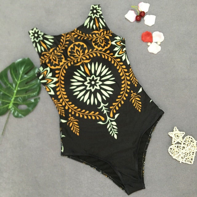 Sexy 2019 Lady High Neck Boho Closed Thong Swimwear Women One piece Swimsuit