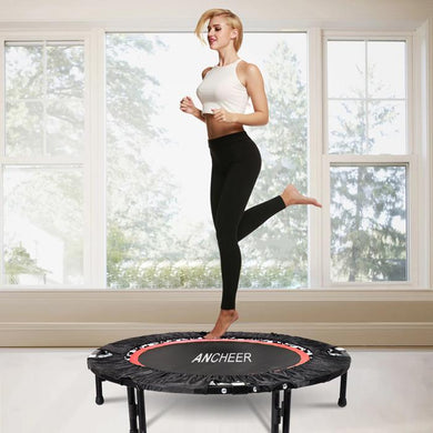 Rebounder Fitness Workout Folding Trampoline Adjustable Handrail