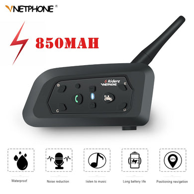 VNETPHONE V6 Intercom Helmet Inalambrico Bluetooth Motorcycle Speaker Intercomunicador 850mAh 6 Riders IP65 MP3 GPS Promotion