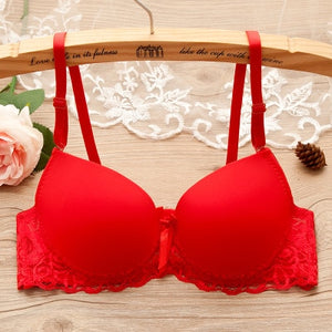 Sexy lace bra cups a low heart thin halter bra straps cross back female underwear.