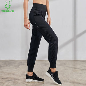Vansydical Reflective Running Trousers Women's High-waist Loose Yoga Pants Breathable Fitness Training Sports Pants