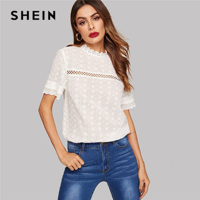SHEIN Eyelet Embroidered Lace Insert Mock Neck Solid Blouse