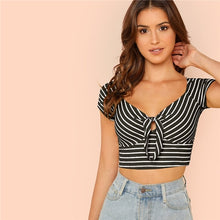 Load image into Gallery viewer, SHEIN V Neck Rib Knit Striped Sexy Tshirt