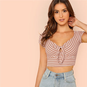 SHEIN V Neck Rib Knit Striped Sexy Tshirt