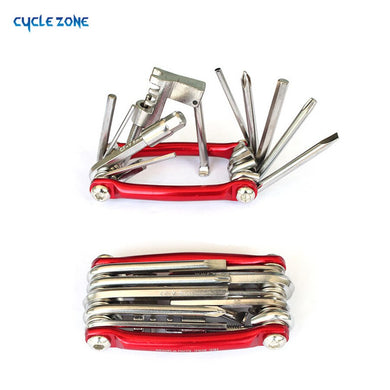 11 in 1 Cr-Mo Metallic Bike Multi-Function Mini Pocket Tool Bicycle Repair Tools Ferramentas Set Kit 6 Hex Opener T25
