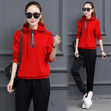 Load image into Gallery viewer, Voobuyla Sport Women Tops Pants Suit Yoga Running Fitness Training Clothing For Sport Suits 2 Pcs Set Tracksuits Gym Sportswear