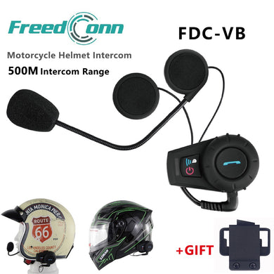 Freedconn 500m Moto Intercom Motorcycle Helmet Intercom Headset Bluetooth Interphone Sports Helmet Kits FM Radio FDC-VB