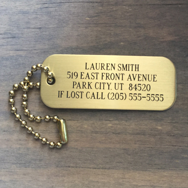 Our Brass Baggage Tags are made from high quality brass, they are durable luggage tags to last you for years to come. Choose from brass or black lettering to suit your luggage id tag style.