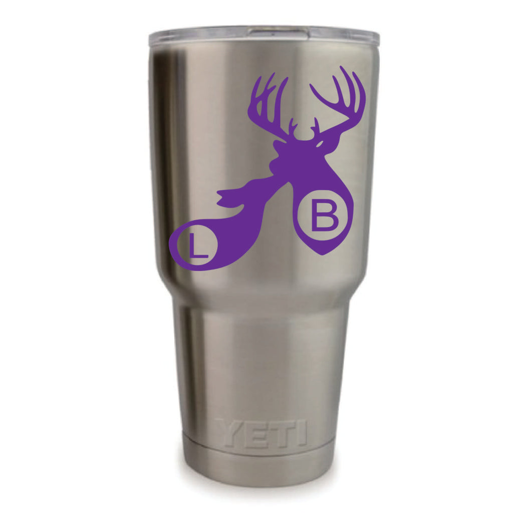 Buck and Doe Vinyl Monogram Decal