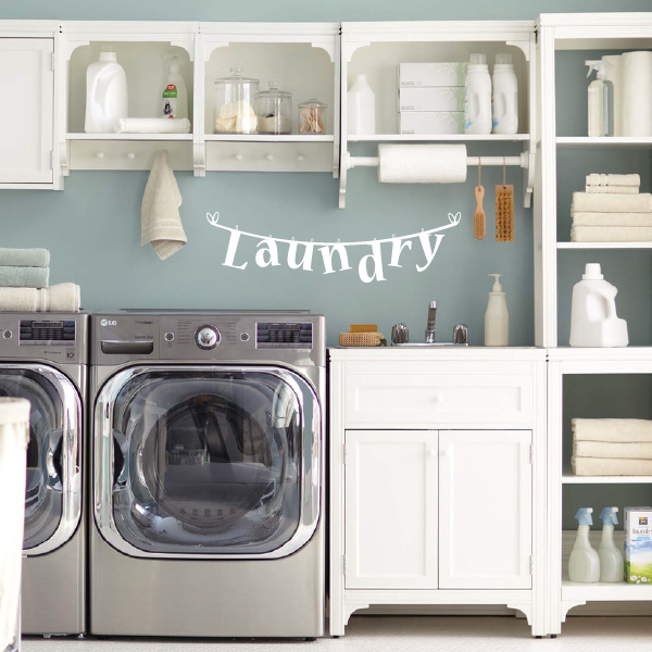 Laundry Room Decor Vinyl Decal | Clothesline