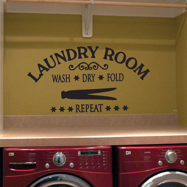 Laundry Room Decor Vinyl Decal | Wash Dry Fold Repeat