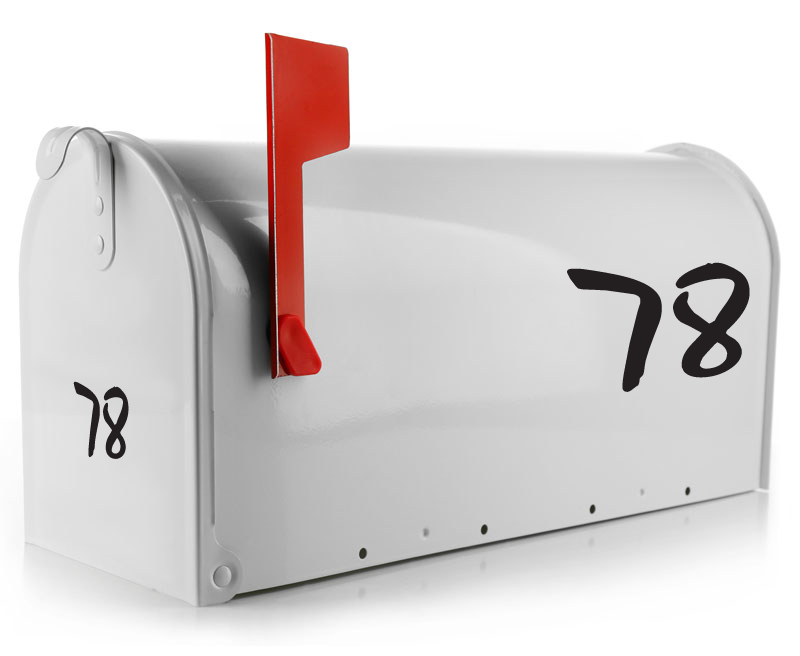 The Flash Mailbox Decal font is a fun thick font that is sure to stand out on your mailbox. This mailbox number sticker comes personalized with your street address and sized to fit your mailbox. (1754281213998)