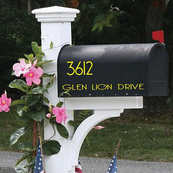 Custom Mailbox Decal Personalized with your street name and address, available in 23 (1726335516718)