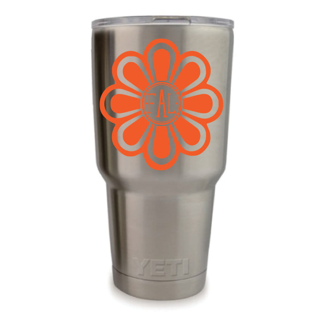 Vibrant Flower Vinyl Monogram Decal