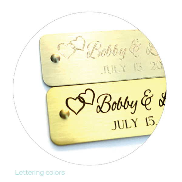 Self Adhesive Hearts | Wedding Tags | Engraved Sticky Tags | Rivets