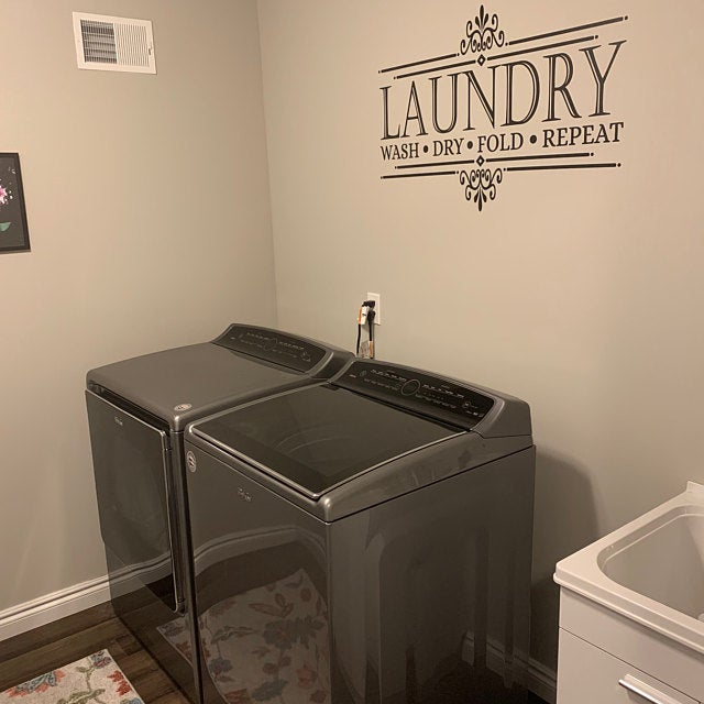 Laundry Room Decor Vinyl Decal | Wash Dry Fold