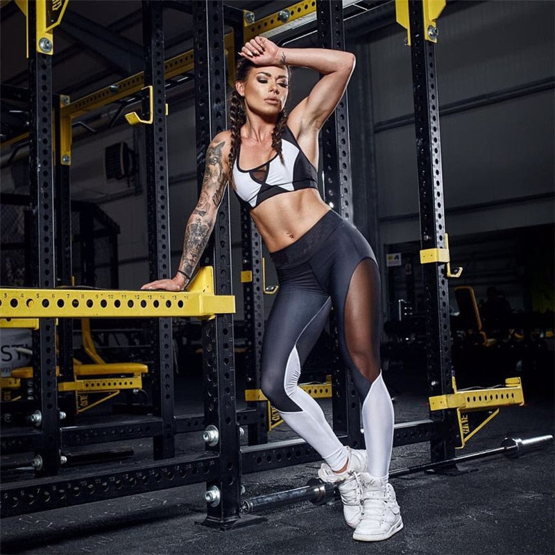 Women Elastic Splice Sport Leggings Fitness Yoga Pant Leggins Gym Running Tights Sportswear Trousers Professional Sports Clothes