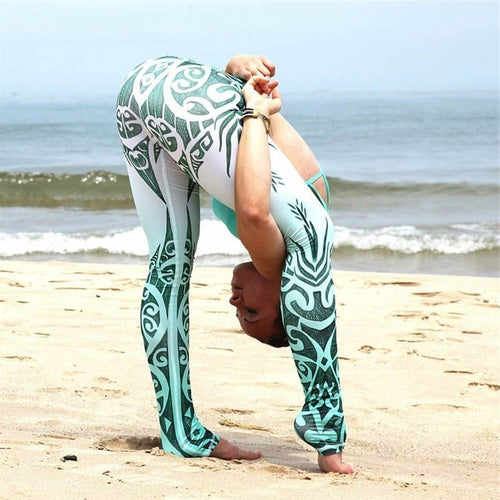 Blue & White Porcelain Digital Print Yoga Pants