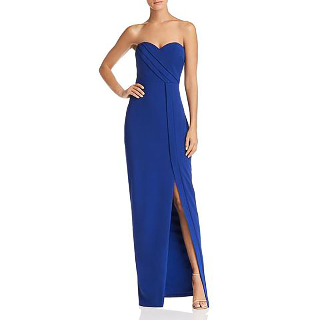 Yieldings Discount Clothing Store's Strapless Column Gown by Bariano in Cobalt