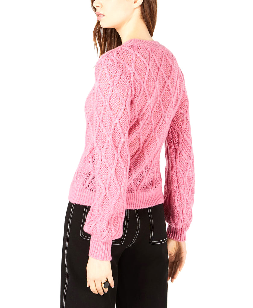 Yieldings Discount Clothing Store's Leyden Cable-Knit Cropped Sweater by Leyden in Hot Pink