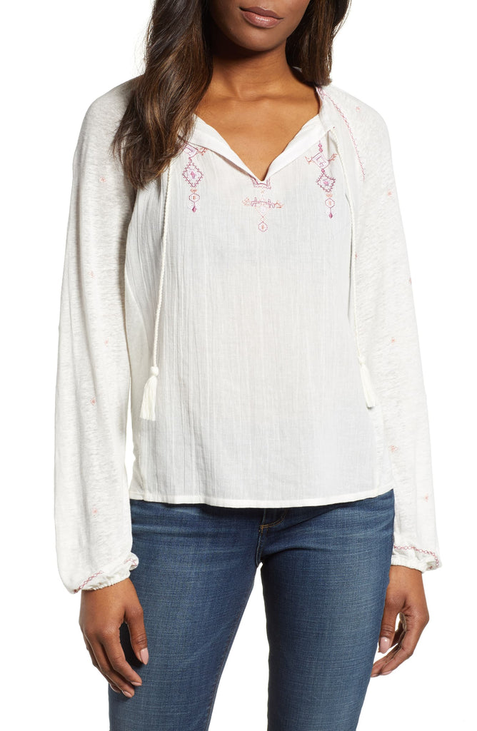 Lucky Brand | Embroidered Peasant Top