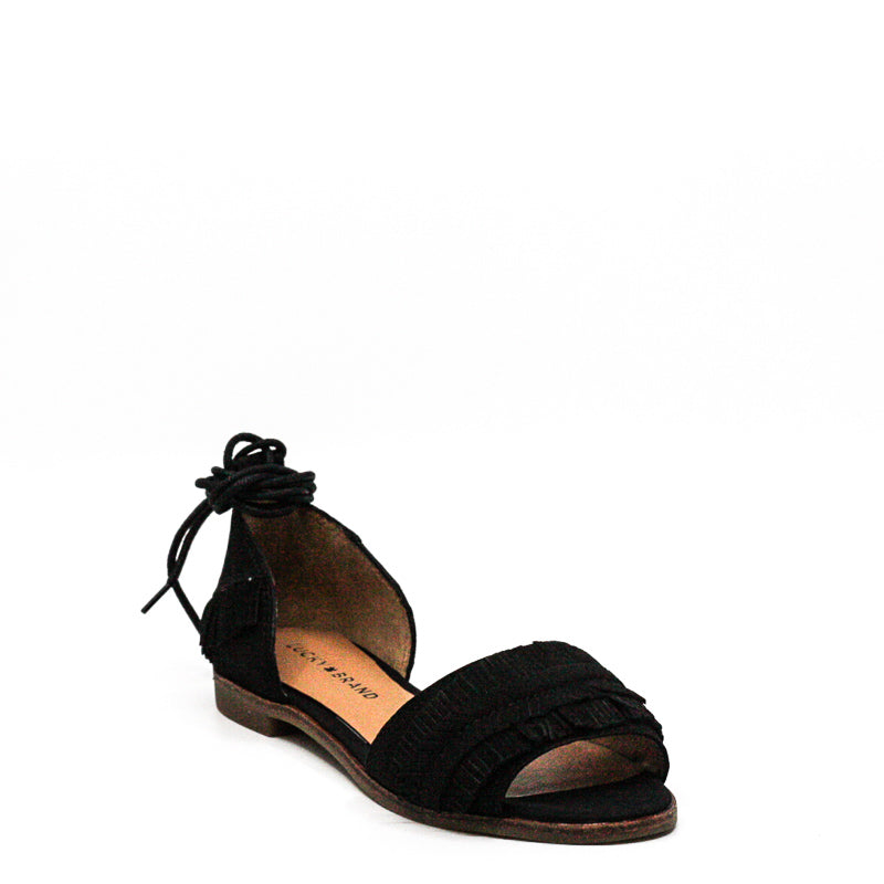 Yieldings Discount Shoes Store's Gelso Tie Up Flats by Lucky Brand in Black