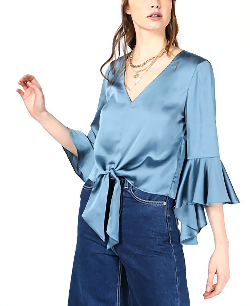 Yieldings Discount Clothing Store's Tie-Front Crop Top by Bar III in Denim Spruce