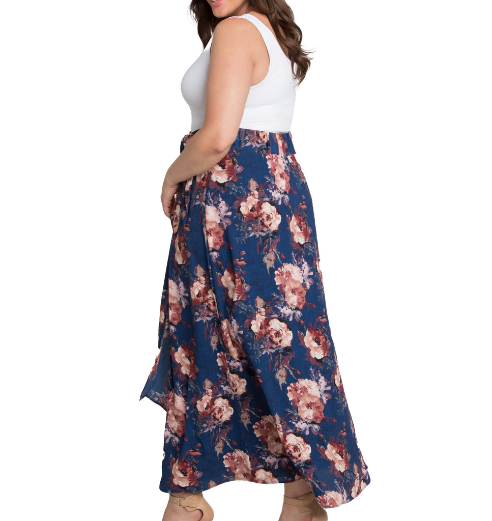 Yieldings Discount Clothing Store's Celine Chiffon Maxi Skirt by Kiyonna in Twilight Rose Print